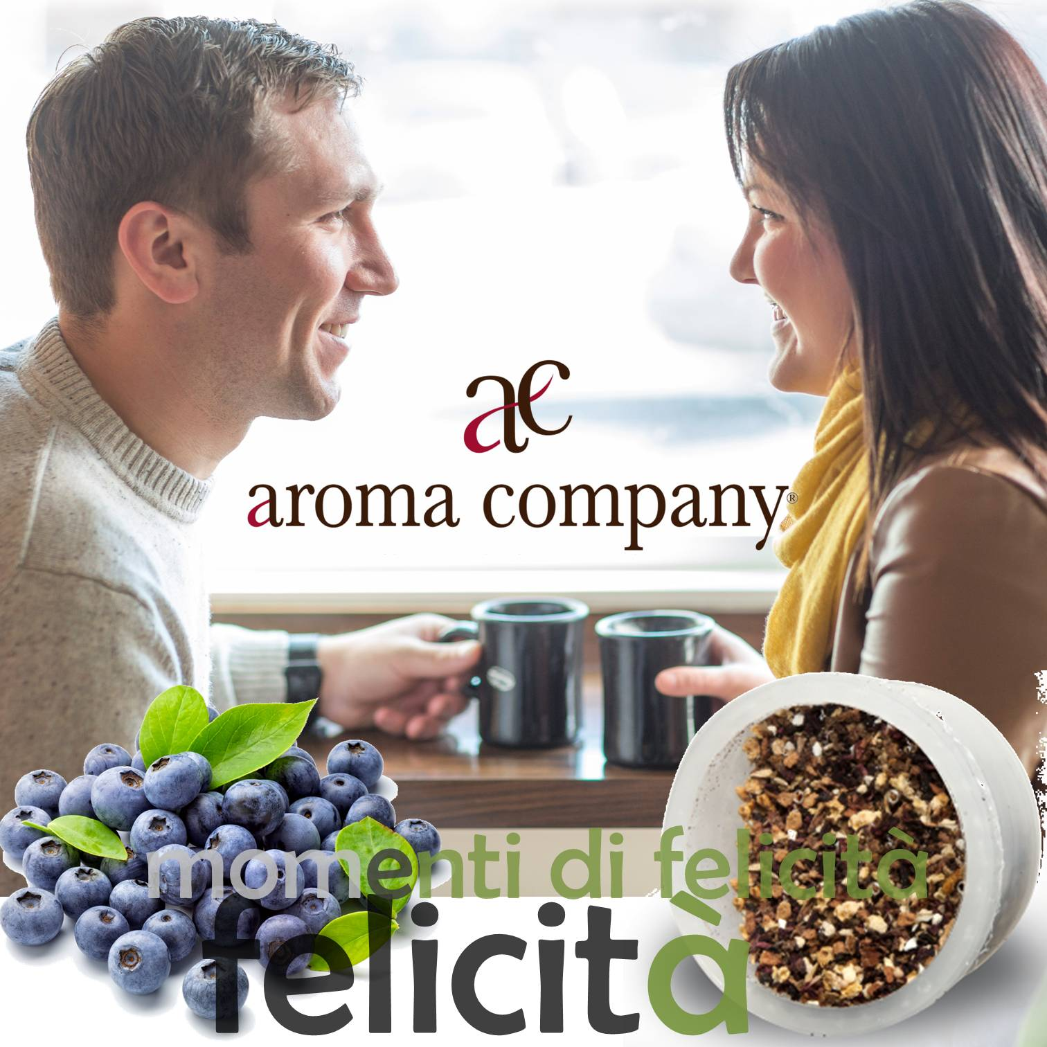 Blueberry Herbal tea point espresso capsules compatible Aroma Company happiness together
