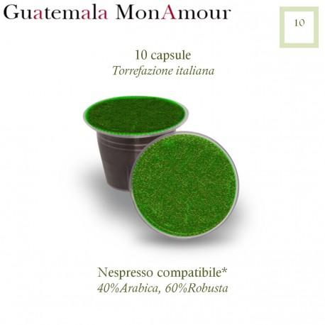 10 Nespresso compatible coffee capsules Guatemala Mon Amour
