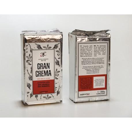 Gran Crema - 250g. Macinatura Moka - 30%Arabica 70%Robusta - High quality blend