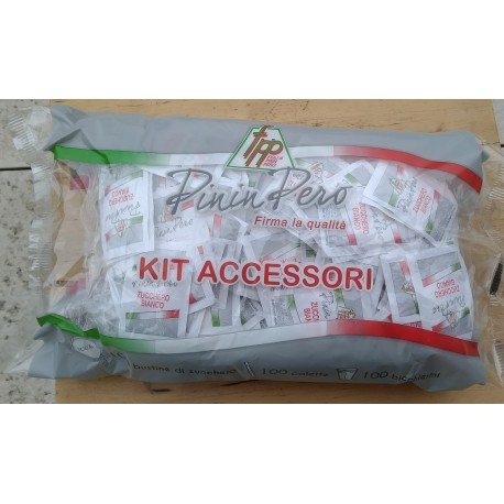 100 pieces sugar kit in sachets, glasses, wrapped palettes.