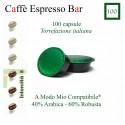 100 capsule caffè Espresso Bar  A Modo Mio compatibili*