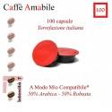 Kaffeepackung 100 Kapseln A Modo Mio-kompatible Amabile Aroma Company